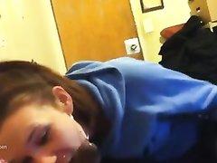 Негр с большим чёрным членом в любительском видео от первого лица трахает в рот белую шлюху