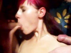 Рыжая немка для любительского секса втроём встретилась с двумя поклонниками