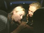 Две французские блондинки бесплатно сделали шикарный минет в салоне автомобиля
