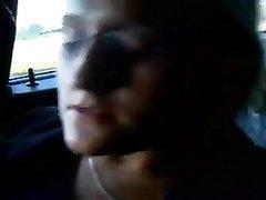 Блондинка в чулках в машине дрочит бритую киску для любительского видео