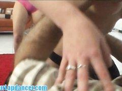 Блондинка привела подругу в чулках для любительского секса втроём с супругом