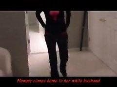 Белая замужняя дама в любительском видео перед скрытой камерой трахается с негром