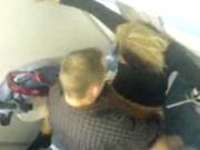 Немецкую блондинку в туалете на унитазе перед скрытой камерой трахает любовник