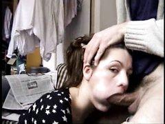 Красивая любительница орального секса берёт за щёку и делает глубокую глотку
