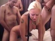 Домашняя анальная групповуха с блондинкой поклонницей двойного проникновения