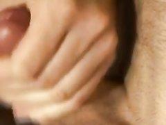 Красивая блондинка в коротких чулках дрочит член и мастурбирует киску