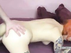Рыжая зрелая леди с тату сделав домашний минет трахается в сочную киску