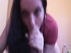 От первого лица любительский минет с окончанием в рот брюнетки из чёрного члена