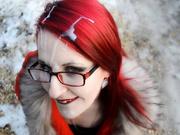 Любительский минет от рыжей дамы в оранжевом пальто