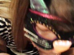 Жена в маске дарит мужу роскошный минет на день рождения