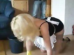 Любительский минет и анал с окончанием на лицо зрелой блондинки в чулках