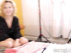 Домашний хардкор с минетом и окончанием на лицо блондинки с большими сиськами