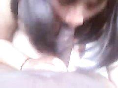 Латинская толстуха с большими сиськами от первого лица сосёт чёрный член