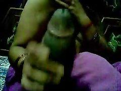 Зрелая смуглянка с большими сиськами от первого лица дрочит огромный чёрный член