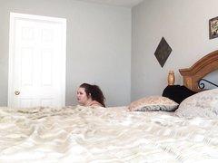 Подглядывание жёсткого домашнего секса с грудастой зрелой толстухой