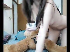 Испанка приделала страпон мягкой игрушку и перед вебкамерой устроила горячее онлайн шоу, она сосёт и скачет на дилдо
