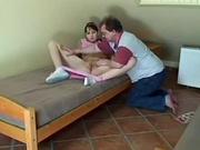 Молодая брюнетка в домашнем порно дрочит клитор и трахается с женатым соседом