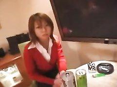 Японка в коротких чулках секс игрушкой желает удовлетворить волосатую щель