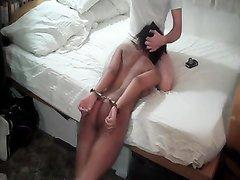 Секс со связанной фигуристой любовницей в стиле БДСМ с жёстким минетом