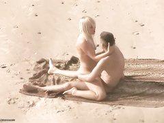 Блондинка нашла на пляже достойного кандидата для секса под открытым небом